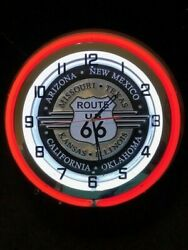 Route 66 Red Neon Clock New In Box 18 Inch Double Neon Clock