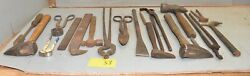 19 Pcs Blacksmith Forge Tools Hammer Nipper Tongs File Iron Cutter Punch Lot S3