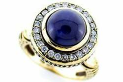 Sapphire And Diamond Vintage Ring 9ct 9k Solid Gold Antique Cabochon R197 Custom