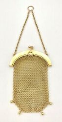 Antique French 14 K Gold Mesh Chain Hanging Coin Purse - 41.2 Grams