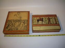 Vintage Wooden Decoupage Hinged Trinket/jewelry Boxes, Made In Italy, Set Of 2