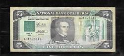 Liberia 19 1989 Vg Circ Old 5 Dollars Banknote Paper Money Currency Bill Note