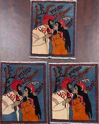 Pair Of 3 Pictorial Romantic Abadeh Area Rug Hand-knotted Wool Carpet 2x2 Square