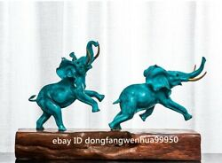 Chinese Pure Copper Bronze Wood Modern Home Art Sculpture Two Lucky Elephant