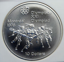 1974 Canada Queen Elizabeth Ii Olympics Montreal Lacrosse Silver Ngc Coin I85239
