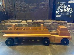 Wood Amish Firetruck Solid Large 26 Vintage Fire Truck Wooden Toy Antique Neat