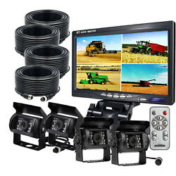 7 Quad Split Monitor Screen+4x Rear View Backup Camera For Bus Truck Rv Trailer