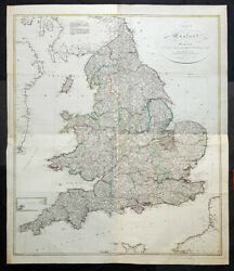 1803 Thomas Kitchin And Johannes Walch Large Antique Wall Map Of England And Wales