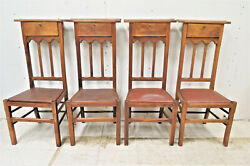 Set Of 4 Vintage French Pine Prayer Chairs With Bible Box