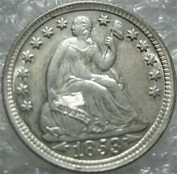 1853 Seated Liberty Half Dime Choice Uncirculated Lustrous White