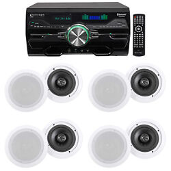 Dv4000 4000w Bluetooth Home Theater Dvd Receiver+8 6.5 White Ceiling Speakers