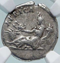 Hadrian Travels To Africa Authentic Ancient 134ad Silver Roman Coin Ngc I85225