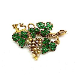 Antique Emeralds Pearls And Diamonds 18k Gold Bunch Of Grapes Shape Brooch