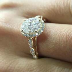 3.00 Ct Oval Cut Diamond Vintage Engagement Ring Solid 14k Yellow Gold Over