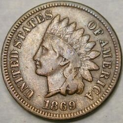1869 Indian Head Cent/penny Appealing Circulated Very Scarce Tough Semi Key Date