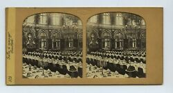Huge Dinging Room In France - Hold To The Light Tissue Stereoview By Guerard