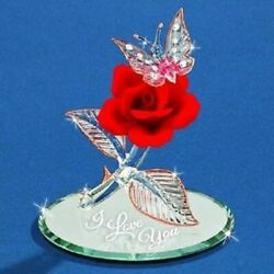 Glass Baronquot;I Love Youquot; Butterfly and Rose Figurine P3 402 R5