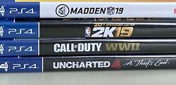 Ps4 Game Combo. Uncharted 4, Madden Nfl 19, Nba 2k19, And Call Of Duty Ww2.