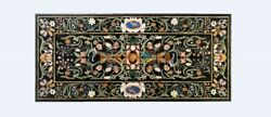 20''x40'' Black Marble Pietra Dura Top Dining Table Inlay With 18 Two Legs B491