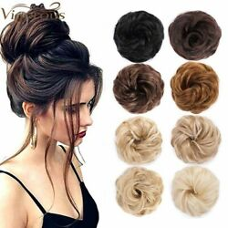 Quality Curly Messy Rose Bun Hair Scrunchie Fake Natural Extensions Hairpiece