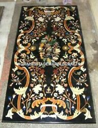 Black Marble Dining Center Table Top Rare Inlaid Mosaic Arts Living Room Decors