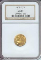 1928 2.5 Indian Ngc Graded Ms64 Quarter Eagle Ms-64