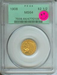 1908 2.5 Indian Pcgs Ms64 Ms-64 Old Green Holder Ogh First Year Premium Quality