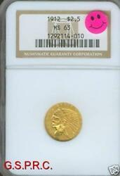 1912 2.5 Indian Ngc Ms63 Ms-63 Better Date Premium Quality P.q. Older Holder