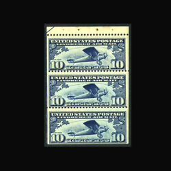 Us Air Mail Stamp-mint Ogandnh, Vf Sc10a Booklet Pane Of 3