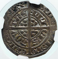 1362-72 Anglo-gaelic Uk France Edward The Black Silver Ngc Coin I85324