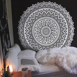Indian Mandala Queen Bedspread Tapestry Blackamp;White Hippie Wall Hanging Decor