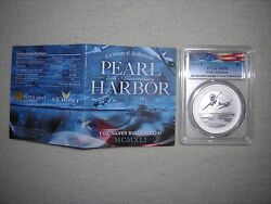 2016 1 Ounce Silver Dollar Pearl Harbor 75th Anniversary Ms70 Pcgs