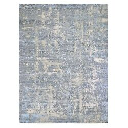 9'x12'4 Abstract Design Wool And Silk Denser Weave Hand Knotted Rug R59059