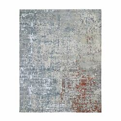 8'x10'1 Abstract Design Wool And Silk Denser Weave Hand Knotted Rug R59068