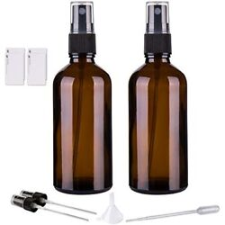 Amber Glass Spray Bottles For Essential Oils, 4oz Empty Small Fine Mist 2 Pack