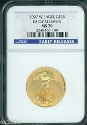 2007-w Burnished 25 G25 Gold Eagle 1/2 Oz. Ngc Ms70 Er Early Releases Scarce