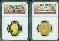2010-w 10 Gold Spouse Abigail Fillmore Ngc Pr70 Pf70 And Ms70 2-coins Set