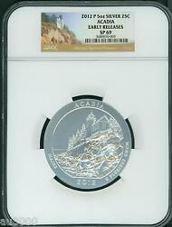 2012-p Acadia Maine National Park Atb 5 Oz. Silver Ngc Sp69 Early Releases E.r.