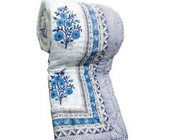 White And Blue Floral Print Queen Quilt Of Export Quality Handmade Quilts For Sale