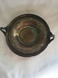 Vintage Poole Silver Co 7801 Epns H Silver Plate Rose Design Dish With Handle