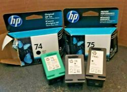 Hp 74 75 74xl Ink Cartridges New Used Empty Lot Of 6
