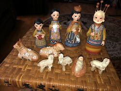 """Mexican Clay Nativity Pieces-10 Pces- Old-1.5"""" And Up"""