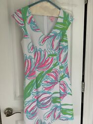 Lilly Pulitzer M Dress Shift Sleeveless Cap Sleeve V-Neck Floral Print White  $18.70
