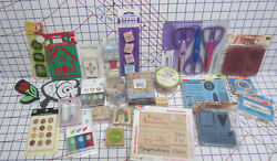 110+ All New Stamps - Embossing Powders -micro Beads Paper Edgers- Brads-stencil