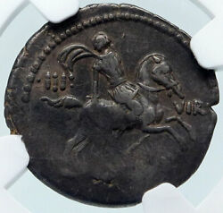Roman Republic Genuine Ancient 47bc Silver Coin Fides Hero Horse Man Ngc I85491