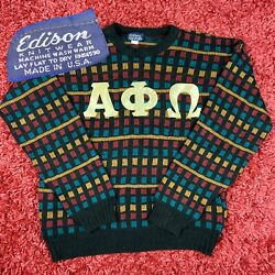 Vintage Edison Alpha Phi Omega Patch Multi Color Square Knitted Sweater Medium