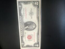 1953-a 2 Two Dollar Bill Red Seal U.s. Note Crisp Unfolded Free Shipping