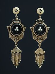 Antique Genuine Victorian Natural Pearl Taille D'epargne Tassel Earrings