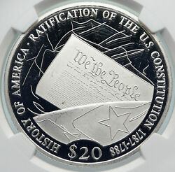 2001 Liberia American Us Constitution History Proof Silver 20 Ngc Coin I85363