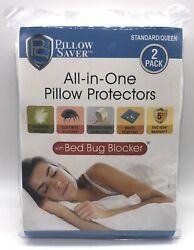 2 Pillow Saver Pillow Protectors Bed Bug Blocker All in One Standard Queen New